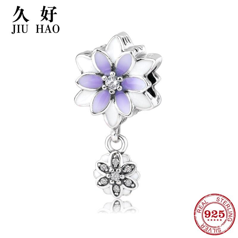 Hot 925 Sterling Silver charm Purple Flowers zircon Beads Fit Original Pandora Charm Bracelet Jewelry making