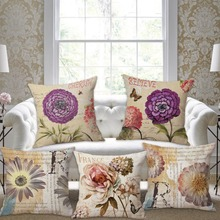SewCrane Garden Flowers White Rose Purple Flowers Decorative Throw Pillow Cushion Cover, 45cm x 45cm