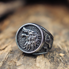 EYHIMD House Stark Direwolf Silver Stainless Steel Ring Game of Thrones Mens Vikings Jewelry