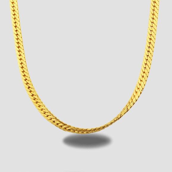 Classique Or Jaune Couleur Chaîne Pour Hommes Collier De Mode Bijoux En Gros  5 MM Largeur 50 CM Long Serpent Chaîne Collier 090c466bd987
