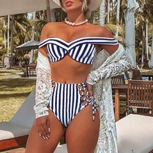 Lace up bathing suit Striped swimsuit women High waist bikini set Off shoulder swimwear Sexy two-piece suit Push up bathers women 2019 summer new striped two piece set office lady sexy off shoulder shirts and high waist mini skirts casual suit