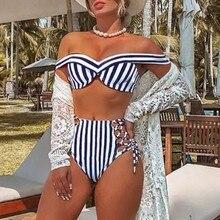 Lace up bathing suit Striped swimsuit women High waist bikini set Off shoulder swimwear Sexy two-piece suit Push up bathers