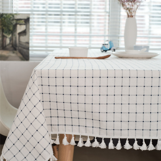 ROMANZO Linen Cotton Fabric Rectangular Tablecloth With Macrame White Plaid  Yarn Dyed Fabric Square Table