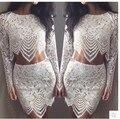2015 guayaba CROP blanco color tops y falda, en stock