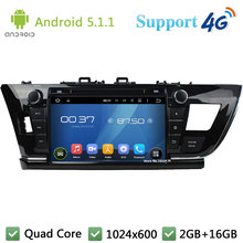 Quad Core 1024*600 9″ Android 5.1.1 Car DVD Multimedia Player Radio Stereo DAB FM 3G/4G WIFI GPS Map For TOYOTA COROLLA LHD 2014