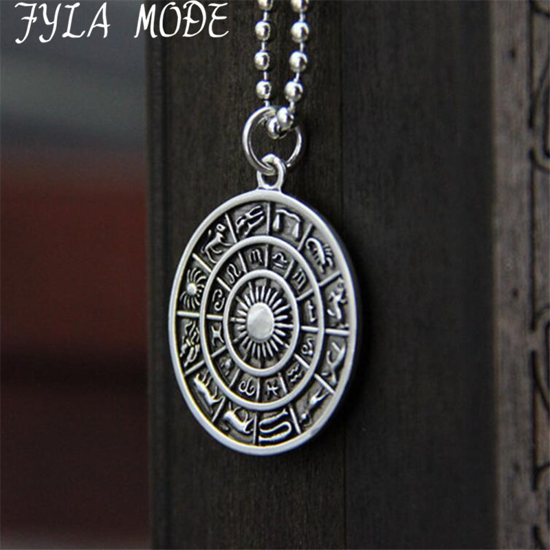FYLA MODE Wholesale 2017 New Fashion Jewelry Men's S925 Sterling Silver Necklace 12 Constellation Pendant Male Fine Accessories