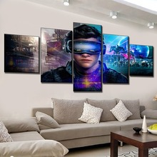 One Set High Quality Canvas Print Ready Player Sci-Fi Movie Painting 5 Pieces Wall Art Home Decorative Modular Picture