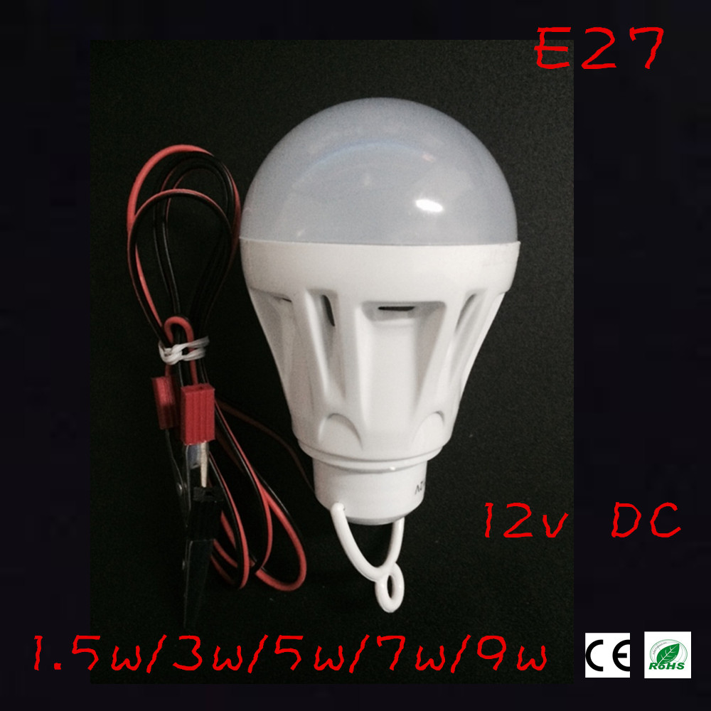 12V DC Led Bulb SMD 5730 Portable Lamp Outdoor Camp Tent Night Fishing Hanging emergency light with alligator clip 3W 5W 7W 9W