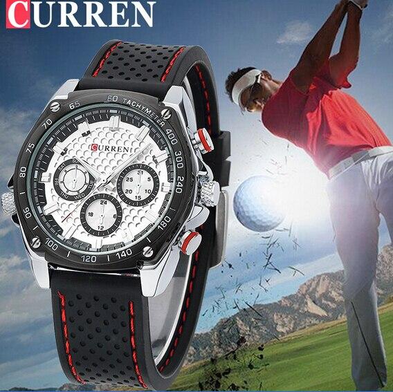 CURREN Luxury Brand Silicone Strap Watches Analog Date Men's Quartz Watch Casual Watch Men Wristwatch relogio masculino 8146 2