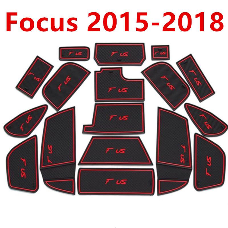 Anti Slip Gate Slot Mat Rubber Coaster for Ford Focus 3 3.5 MK3 2015 2016 2017 2018 facelift ST RS Accessories Car Stickers 17Pc|Automotive Interior Stickers| |  - title=