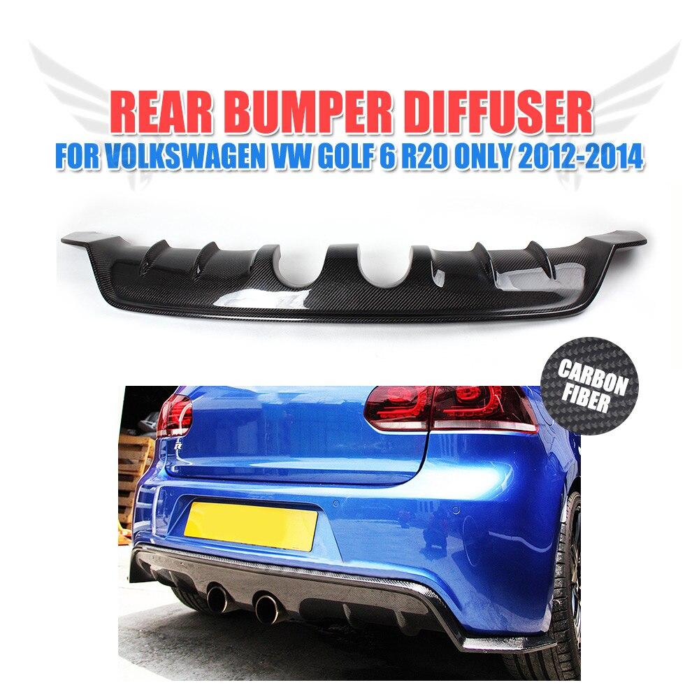 Carbon Fiber/FRP Unpainted Rear Bumper Lip Diffuser Black For Volkswagen VW Golf 6 VI MK6 R20 Bumper 2012 2014 E Style