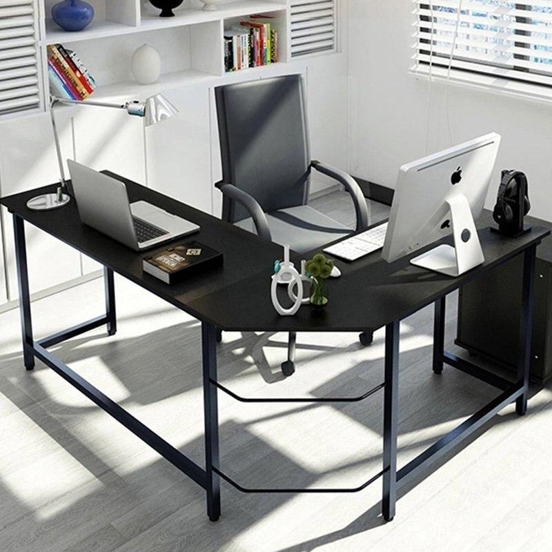 L образная офисная угол стола компьютерный стол ПК ноутбук стол современный плоский угол компьютерный стол домашняя офисная мебель США нал