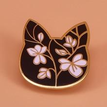 Цветочный Кот Эмаль Булавка цветок искусство брошь Милые булавки значки с животными ювелирные изделия кошка любовник подарки для женщин аксессуары для куртки