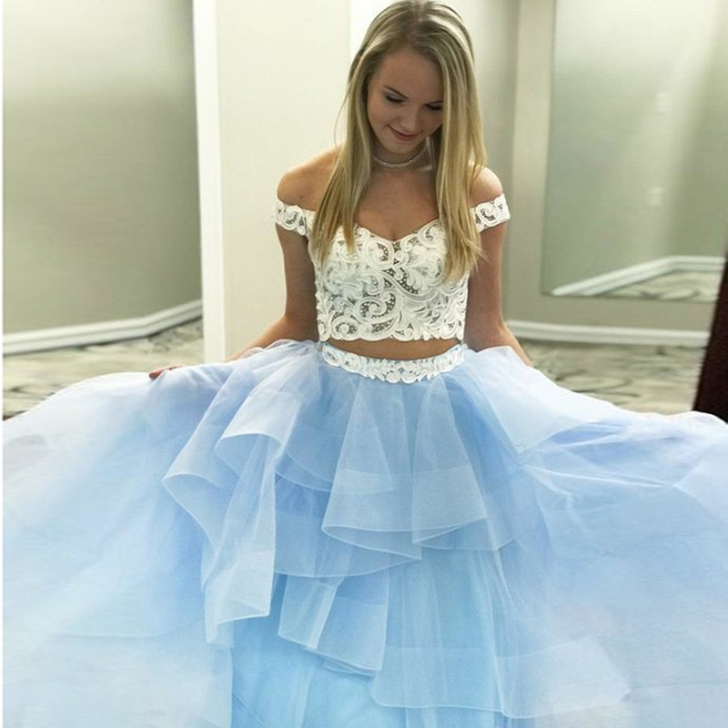 Off Shoulder Long   Prom     Dresses   Two Pieces Tiered A Line Sleeveless Sweep Train Blue Evening Formal Party   Dress   Vestido De Fiesta
