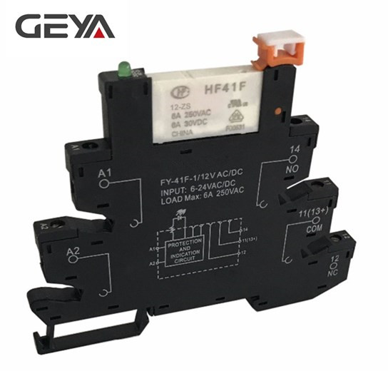 цена на GEYA Slim Relay Module Protection Circuit 6A Relay 12VDC/AC or 24VDC/AC OR 230VAC Relay Socket 6.2mm thickness