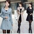 2015 primavera e outono mulheres formais trincheira casaco fino trincheira de médio-longo plus size outerwear sobretudo para as mulheres AC-91