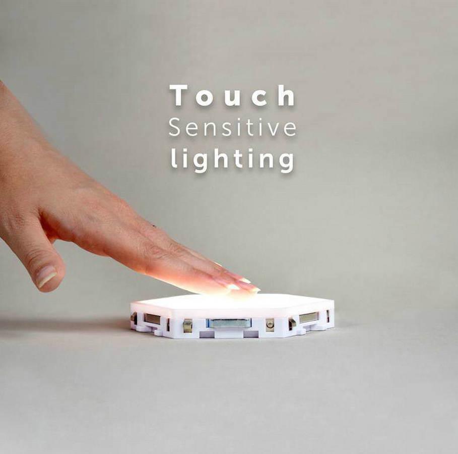 Diy quantum luz sensível ao toque sensor noite lâmpada modular hexagonal led luzes magnéticas lâmpada de parede luz da noite - 5