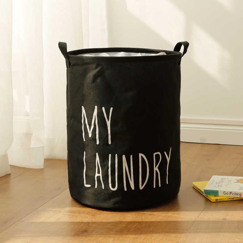 Portátil Brinquedo Cesto de roupa suja Caixa De Armazenamento Grande Cesta De Lavagem de Roupa de Algodão lavar a Minha Roupa Preta 45*35 centímetros Suja Barril organizador Bin
