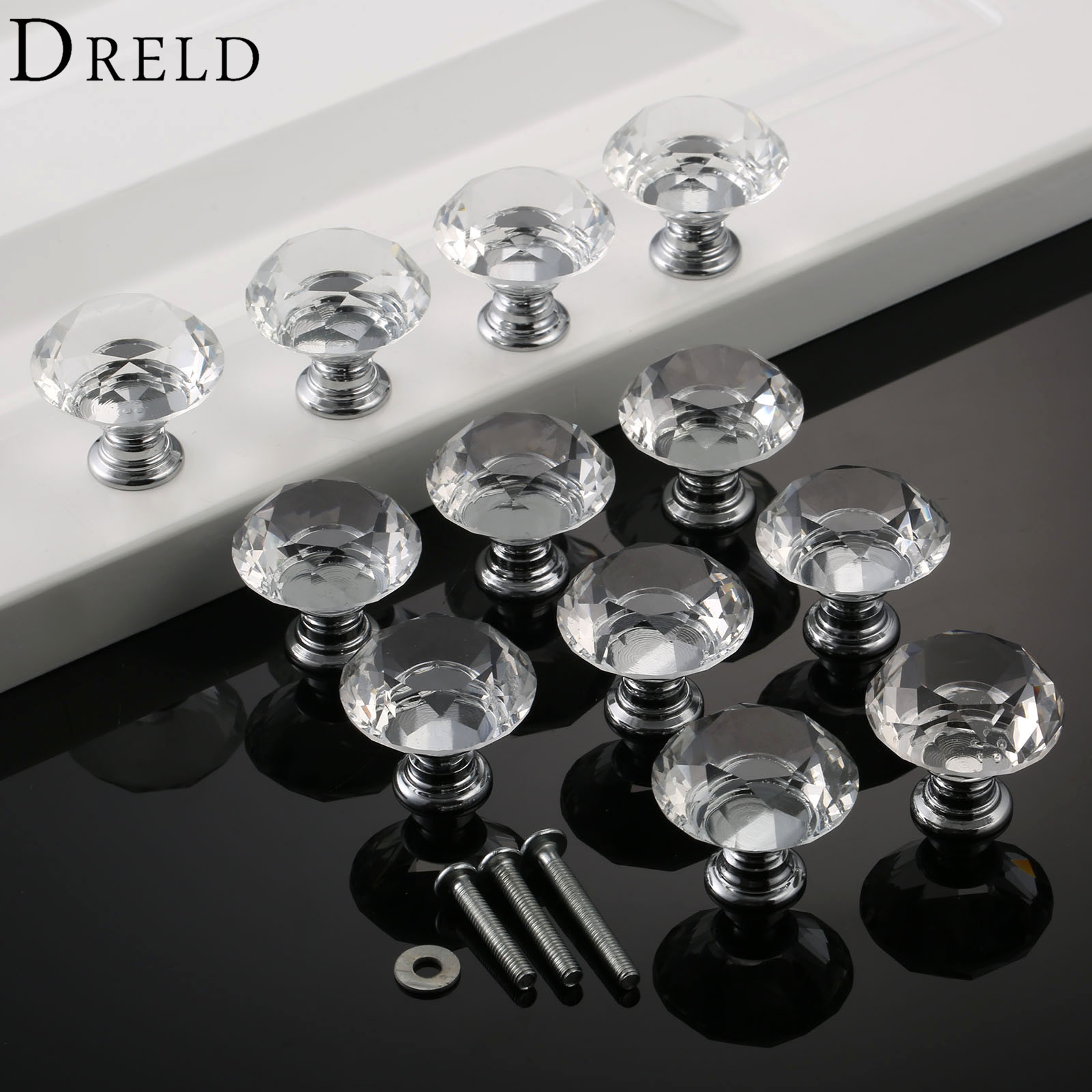 DRELD 12Pcs 30mm Diamond Crystal Glass Knob Cupboard Drawer Pull Handle Kitchen Door Cabinet Knobs and Handles with 36Pcs Screws 10 pcs 30mm diamond shape crystal glass drawer cabinet knobs and pull handles kitchen door wardrobe hardware accessories