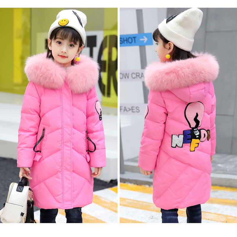 -30 degree Cold Winter Girls Down Jackets Fur Collar Thick Warm Long Hooded White Duck Down Coats Outerwear Child Girls Clothes 2018 cold winter warm thick baby child girl hoody long outerwear pink duck down