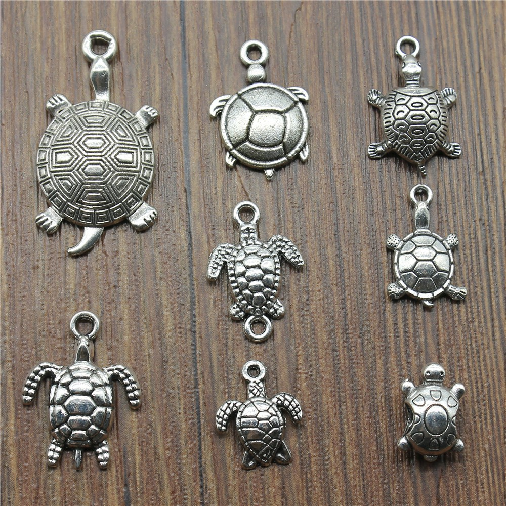 Mini Charm Turtle-Tortoise 925 Sterling Silver w-Multiple Attachment Options