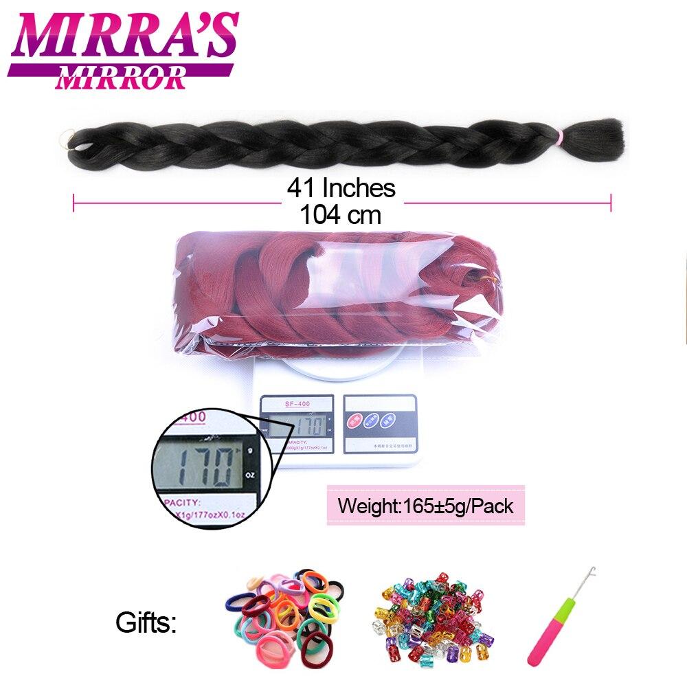 Image 5 - Mirras Mirror Braiding Hair Pure Color Crochet Hair Extensions 82inches Jumbo Braid Hair Synthetic 5pcs High Temperature FiberJumbo Braids   -