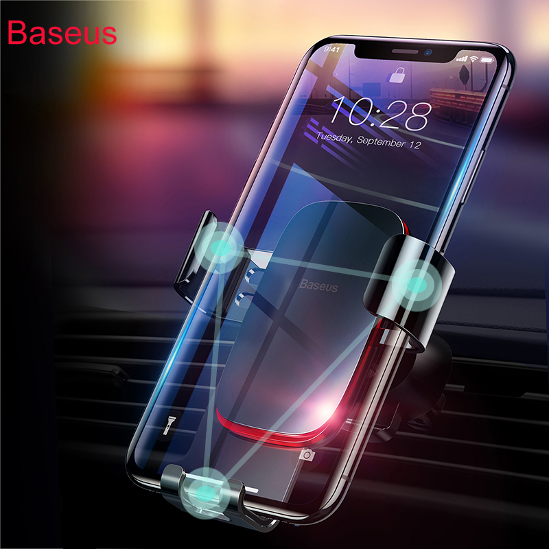 Baseus Car Phone Holder For iPhone X 8 7 Gravity holder for Mobile Phone in car Air Vent mount holder Supporto Del Telefono