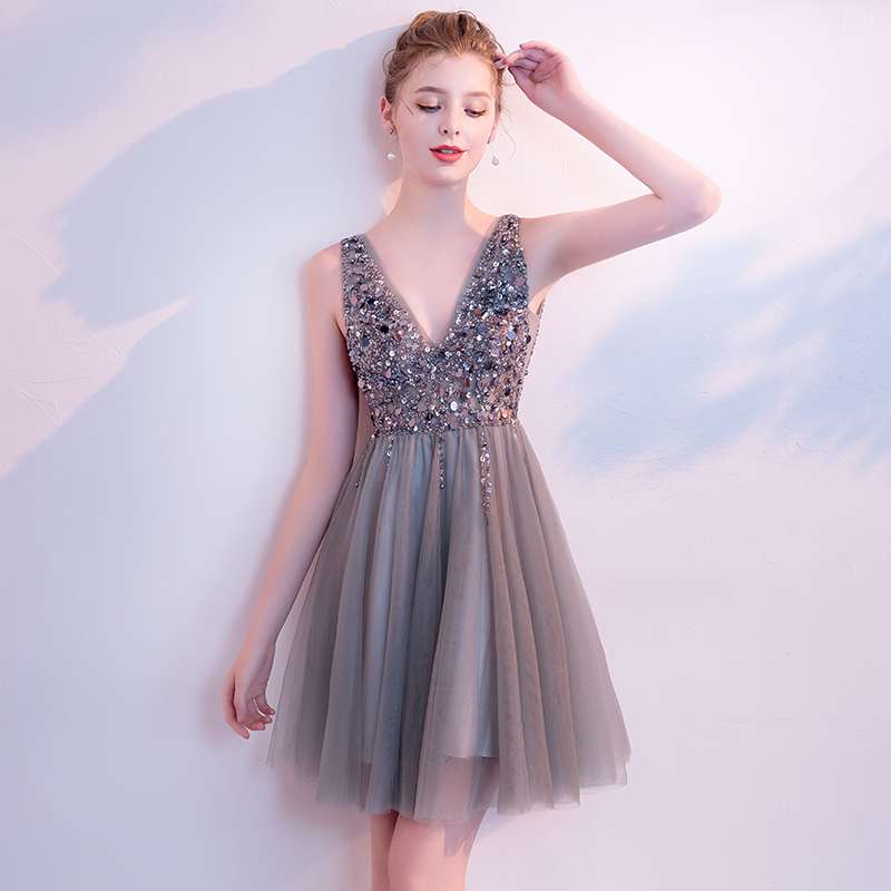 New Grey V-neck Backless Crystal Beading Mini Vestidos De Festa Luxury Sequins A-line Short Cocktail Dresses Prom Party Gowns