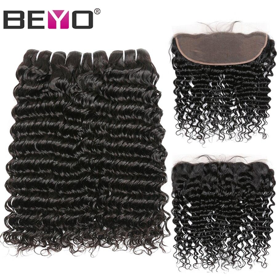 Deep Wave Bundles With Frontal Peruvian Human Hair Bundles With Closure 4 Pcs Can Do Customzied