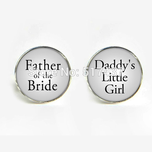 1 Pair New Fashion Quote Cufflinks Daddy's Little Girl & Father Of The Bride Cuff Link Cufflinks For Weddings