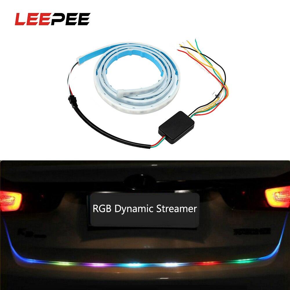 Фонарик автомобиль RGB Светодиодные ленты тормозной фонарь Универсальный задний багажник фонарь Многофункциональный указатель поворота Си...