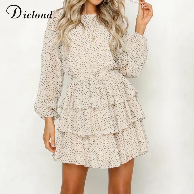 DICLOUD Polka Dot Dress Women White Backless Mini Party Dresses Long Sleeve Autumn Summer Sundress 2019 Female Vestidos