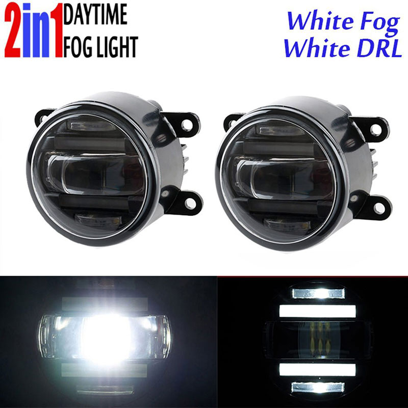 Front Led Replacement Fog Lamp Lights with Daytime Running Light DRL White Yellow Amber Lens 90mm