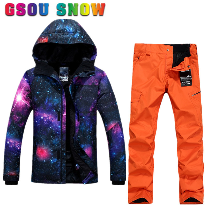 93f42e968e Gsou Snow Brand Winter Ski Suit Men Ski Jacket Pants Waterproof Snowboard  Suit Jacket Pants Outdoor Skiing Snow Suit Sport Coat