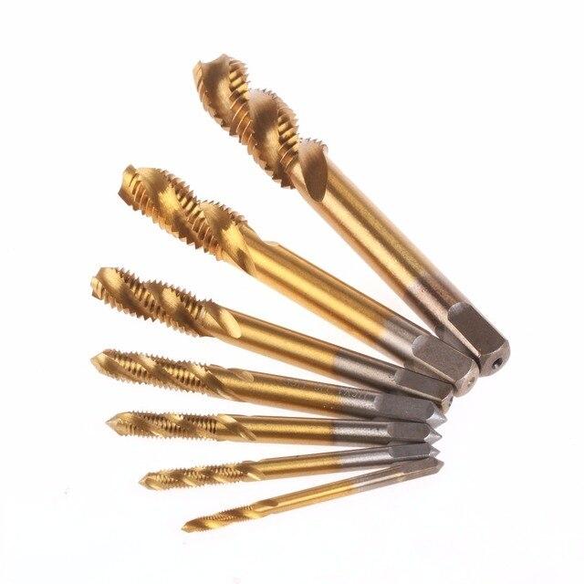 7 unid/set HSS M3 M4 M5 M6 M8 M10 M12 máquina espiral punto recto estriado mano grifo rosca métrica juego de broca de enchufe