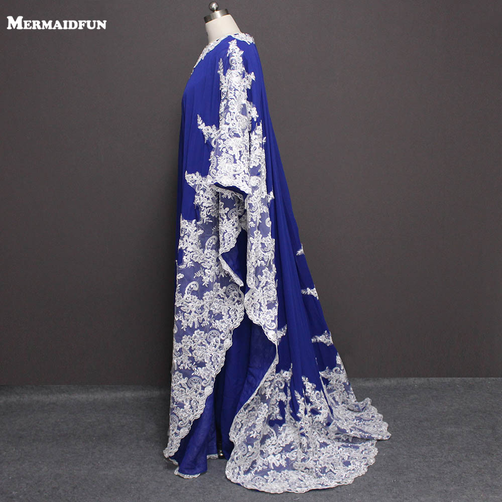 2019 New Real Images White Lace Appliques Blue Chiffon Muslim Arabic   Evening     Dress   Luxury Formal   Evening   Gown Robe De Soiree
