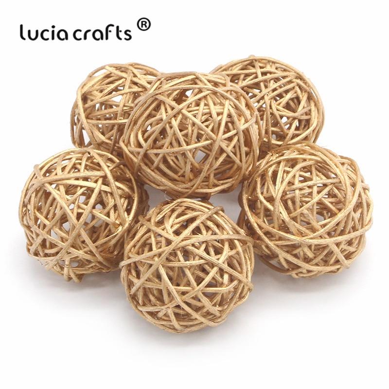 Lucia Crafts 6pcs 3cm/5cm Gold Vintage Wicker Cane Ball Christmas Home Gardens Patio Ornament DIY Decoration Materials M0804