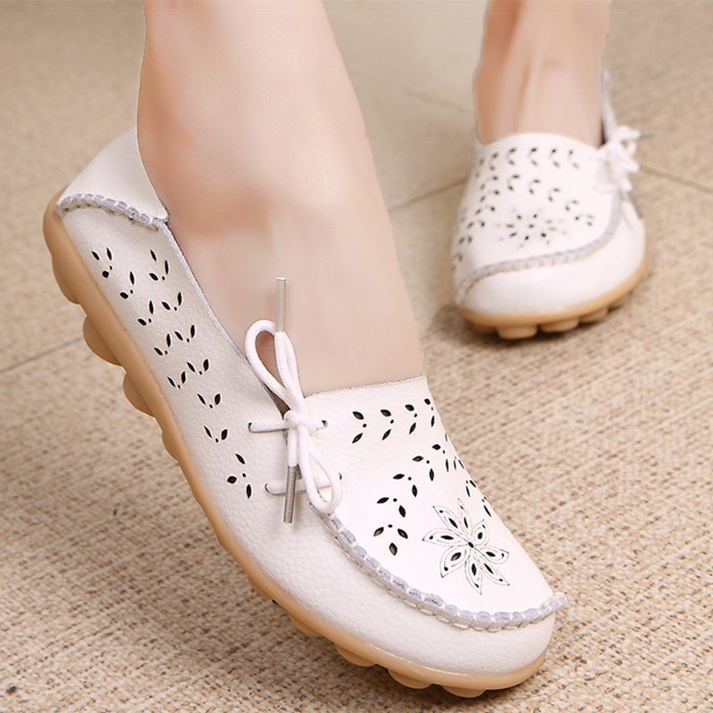 Women's Casual Genuine   Leather   Shoes Woman Loafers Slip-On Female Moccasins Ladies Driving Shoe Cut-Outs Mother Footwear