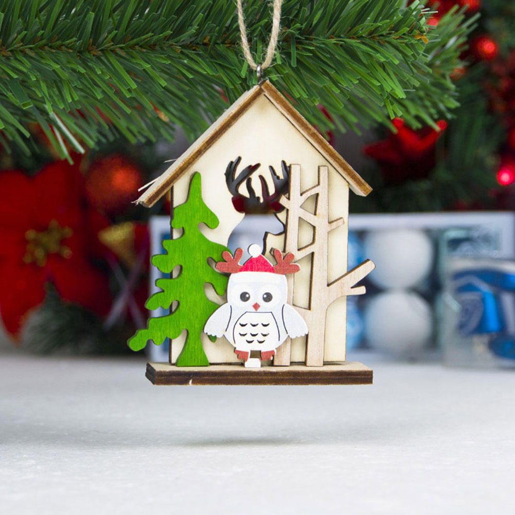 Wooden House Hanging Decoration Ornament Pendant For Christmas Tree Party Home 66CY image