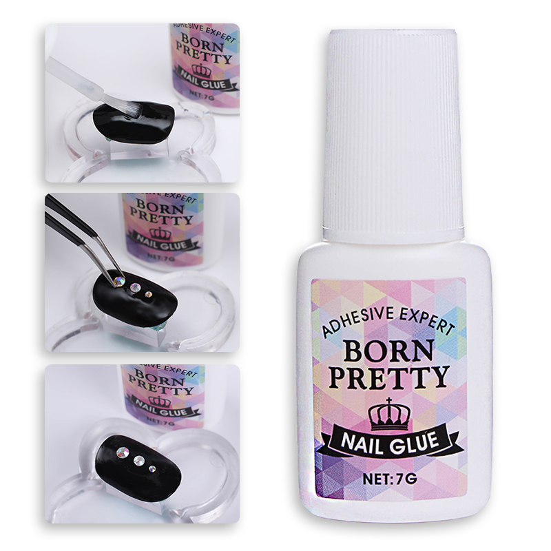 1 Bottle BORN PRETTY Nail Decoration Adhesive Glue Fast-dry for UV/LED 7g Manicure Nail Art Tool Accessories 12 pcs cyanoacrylate quick dry adhesive strong bond fast 502 super liquid glue for leather rubber metal home office school tool