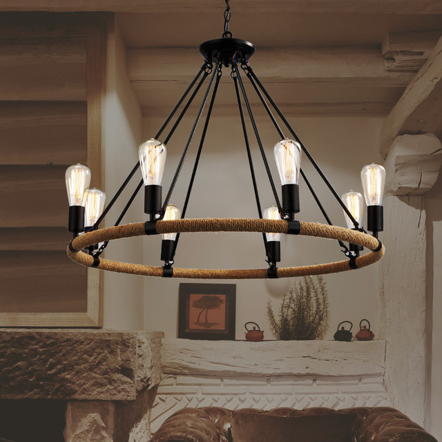 Modern Nordic 8*E27 Creative Retro Wrought Iron Pendant light fixture Loft Hemp Rope Bar Castle Restaurant Pendant Lamp