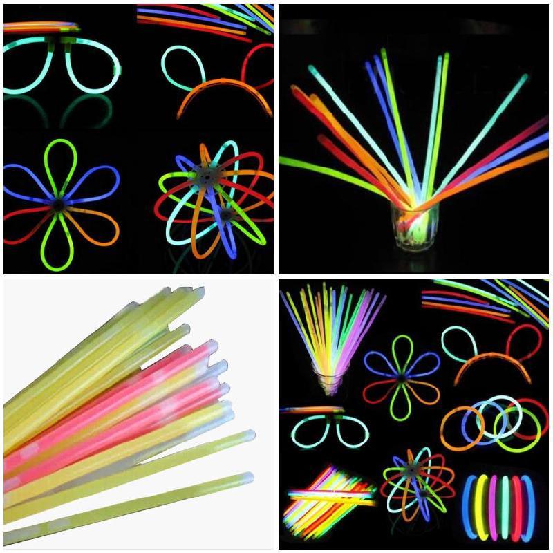 Glow Sticks Bracelet 100 Pcs/Set Necklaces Neon Party Lights Premium Party Favors Hogard