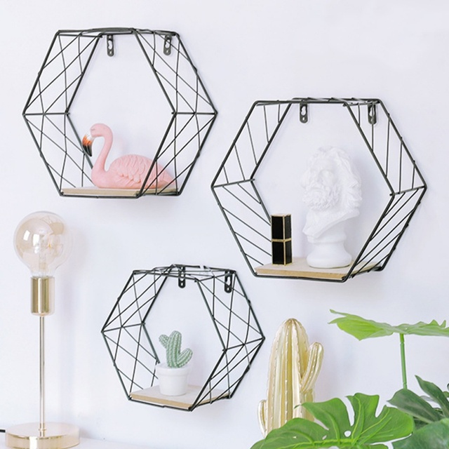 Nordic Iron Hexagonal Grid Wall Floating Shelf Combination Wall Hanging Geometric Figure Wall Decoration For Living Room Bedroom 1