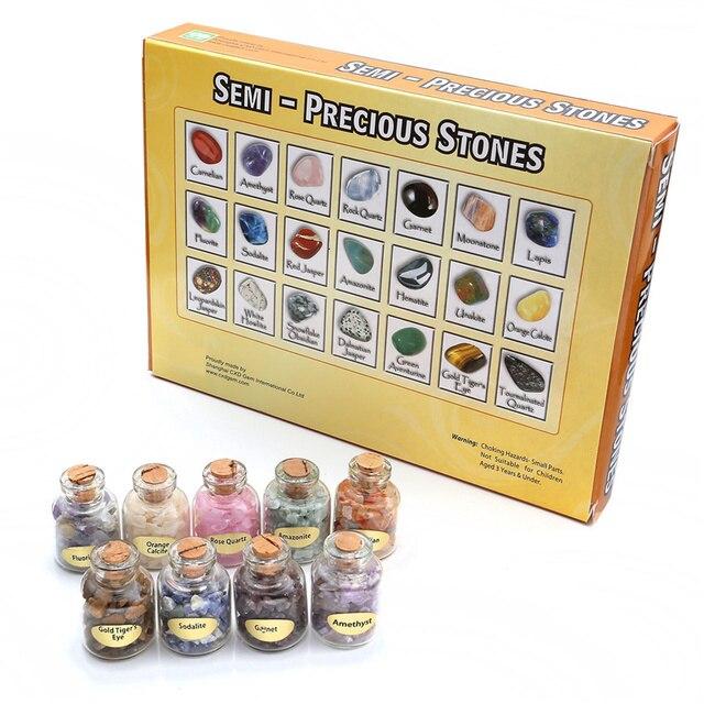 Sunligoo 9 Bottles Mini Natural Semiprecious Gem Stone Chip Crystal Healing Tumbled Reiki Wicca Travel Natural Stones Decoration 3