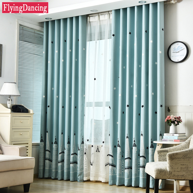 Kids Cute Curtain For Living Room Jacquard Bedroom Cartoon Castle Curtain  Embroider Sheer Voile Child Curtains