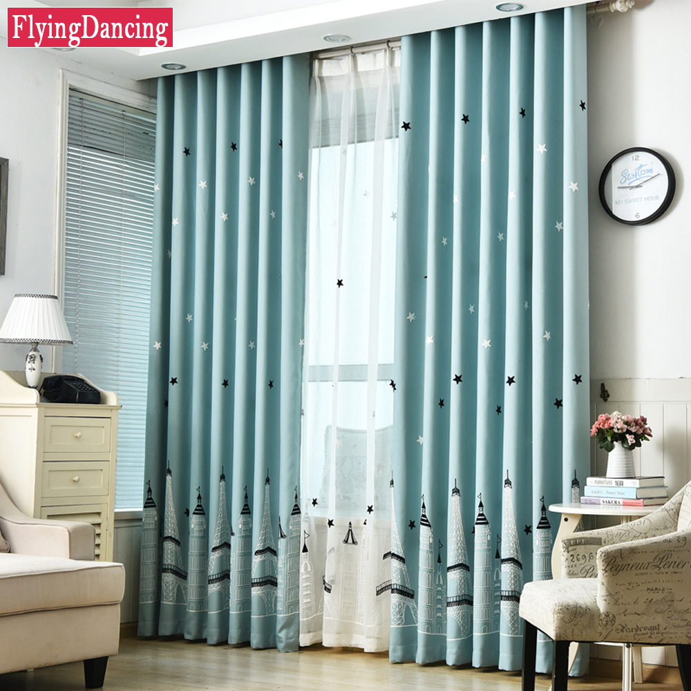 Cute Bedroom Curtains   Kids Cute Curtain For Living Room Jacquard Bedroom  Cartoon Castle Curtain Embroider Part 44