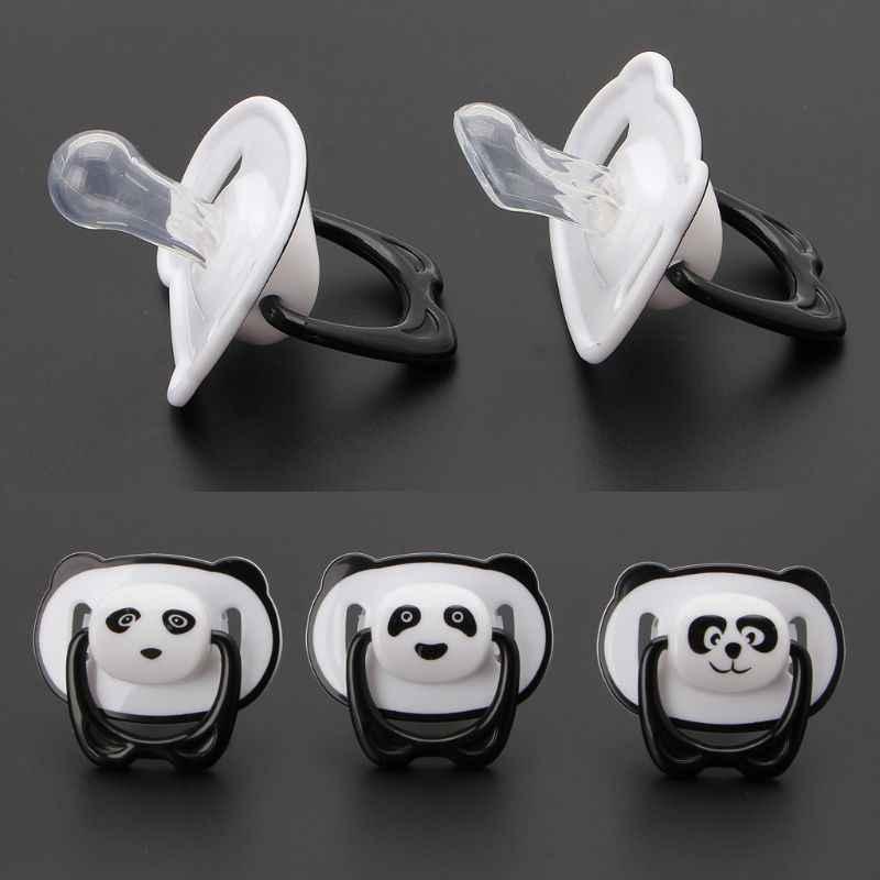 Cute Panda pezón Dummy chupete bebé alimentos grado PP silicona chupete niño ortodóntico pezones con anillo mordedor bebé chupete