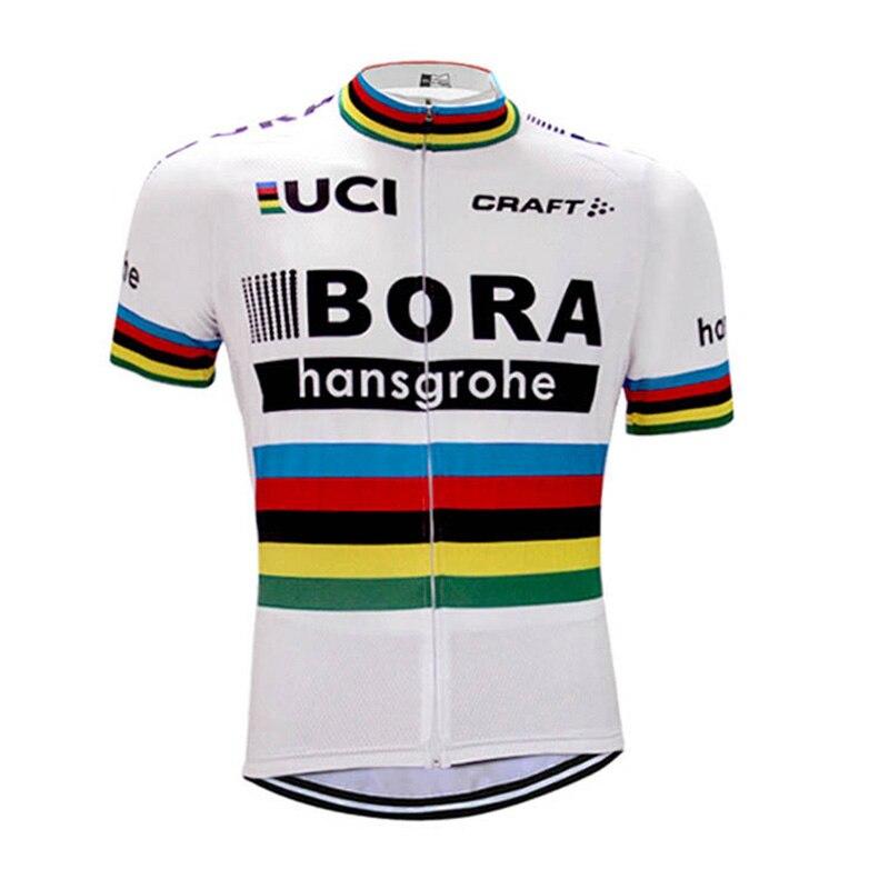 2018 Hommes D'été BORA Équipe Manches Courtes Ropa Ciclismo Maillot Vélo Vêtements Vélo Maillot À Séchage Rapide Respirant Vélo Tops
