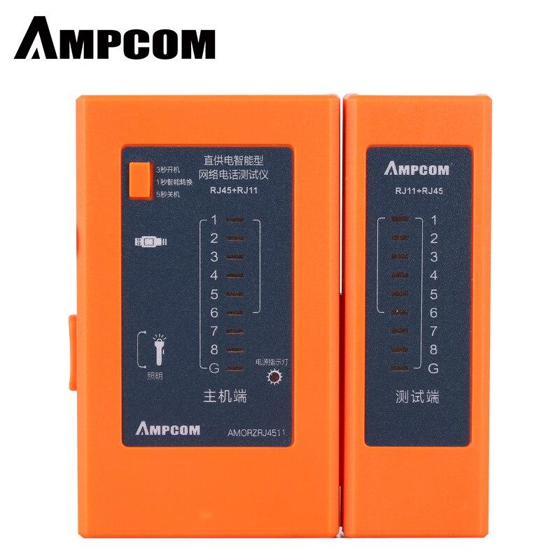 AMPCOM Automatic Series Orange Network Cable Tester Detector RJ45 RJ11 RJ12 Cat6 Cat5 Lan Ethernet Cable Wire Test Tool
