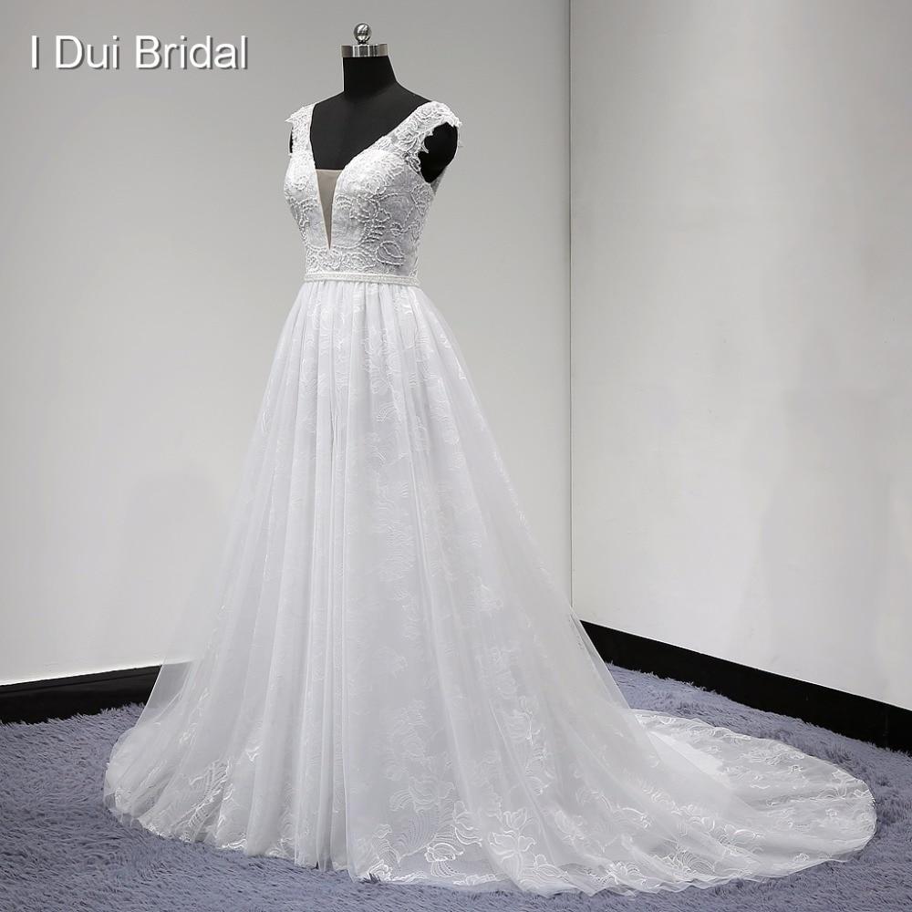 Csipke esküvői ruha övvel V nyak A vonal ujjatlan magas minőségű valódi fotó gyári egyedi készítésű